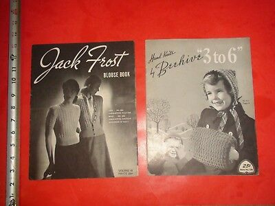 BC161 Vintage LOT 2 Sewing Magazines Beehive Hand Knits Jack Frost Blouse Book