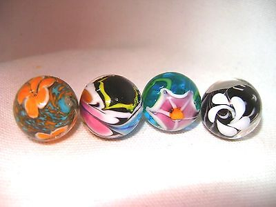 NEW SET OF 4 HANDMADE CELESTIAL 16mm GLASS MARBLES TRADITIONAL COLLECTORS HOM