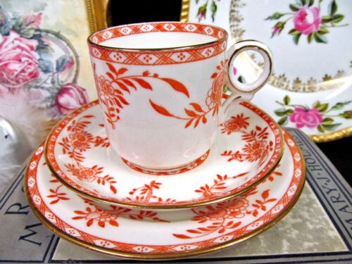 BODLEY TEA CUP AND SAUCER TRIO FLORAL URN ORANGE PATTERN TEACUP