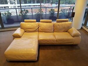 Plush Leather - sofa with chaise (cream) Waterloo Inner Sydney Preview