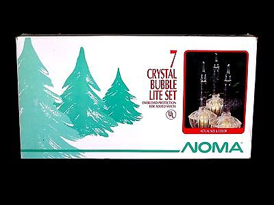 NOMA CRYSTAL CHRISTMAS TREE BUBBLE LITES / LIGHTS 7 ON STRING - CLEAR IN BOX