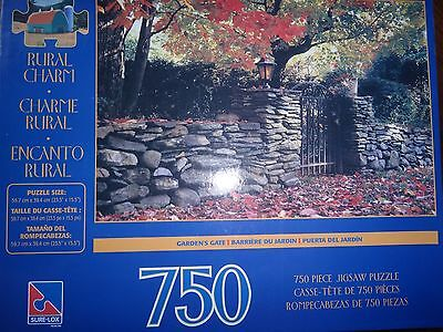 "New~Sure-Lox~750 PIECE JIGSAW PUZZLES~GARDEN'S GATE~RURAL CHARM~23.5""x 15.5"""