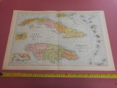 100% ORIGINAL LARGE CUBA JAMAICA LESSER ANTILLES  MAP  BY G  BACON C1912 VGC
