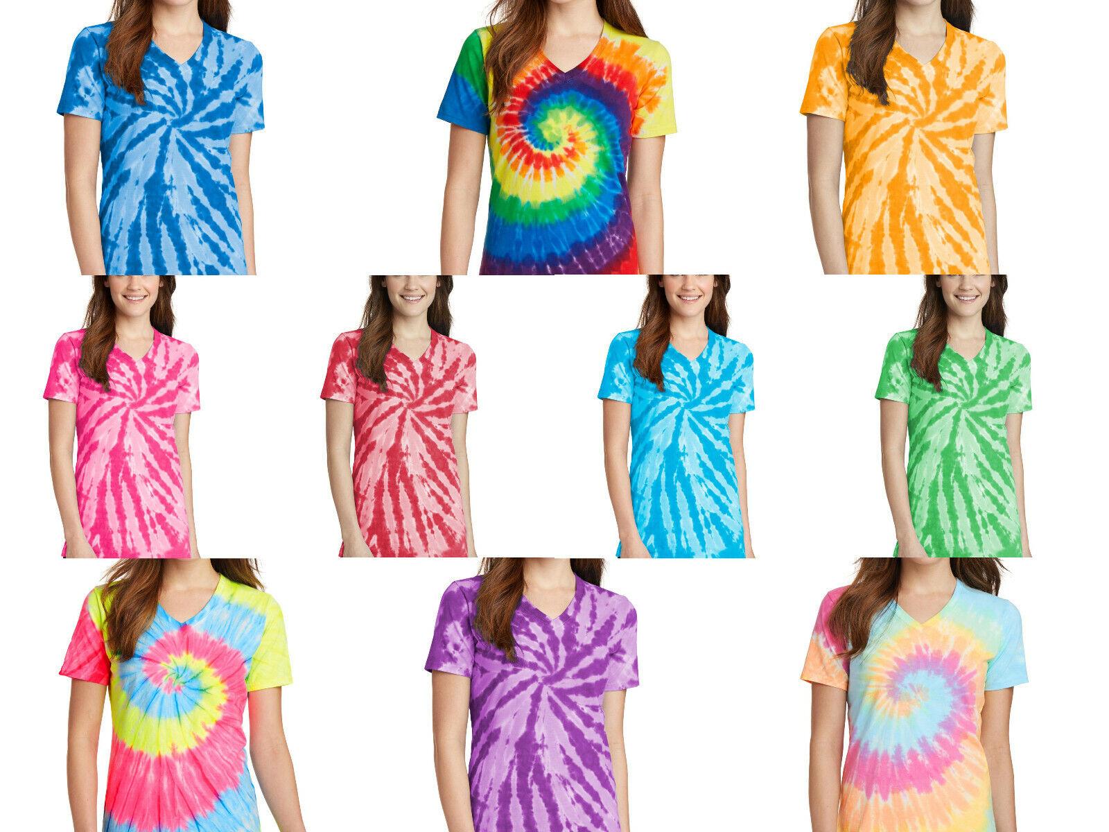 как выглядит New Ladies Tie-Dye Tee Tye Dyed V-Neck T-Shirt Spiral Women