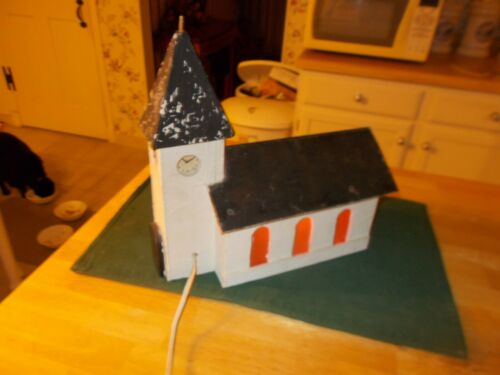 EARLY TO MIDDLE 1900S ALL WOODEN CHURCH WITH MUSIC BOX AND INSIDE LIGHT TO LIG