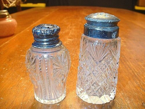 Lot of 2 Antique ABP Cut Glass Victorian Salt Shakers