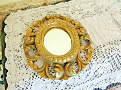 Hand Made Italian Gilt Ornate Carved Wood Small Frame VINTAGE Lavorazione A Mano
