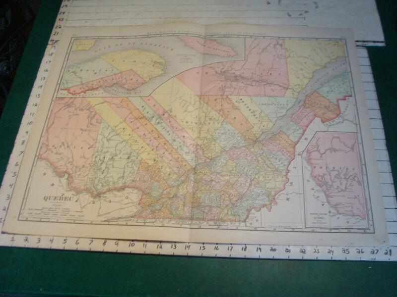 """Vintage Original 1898 Rand McNally Map:  QUEBEC, 28 x 21"""""""