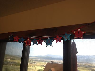 4th of July Celebration Birthday Star Garland Ribbon Banner