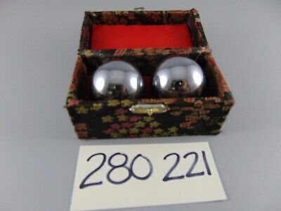 VINTAGE CHINESE ASIAN BAODING CHIMING EXERCISE BALLS CASED 44mm