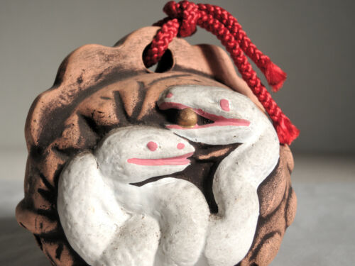 3 inch Japanese Old Clay Bell Dorei : design White Snake : from Yasushige-gama