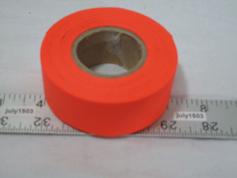 "(1) NEW Roll Fluorescent Orange Flagging Tape 1-3/16"" x 150"