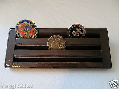 Military Coin Display - Military Challenge Coin/Chips Wood Display Holder 3 Tier->SMALL<-Kona-Chocolate
