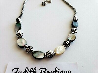 BRIGHTON Beaded Mother of Pearl Silver Necklace NEW Mother Of Pearl Silver Plated Necklace