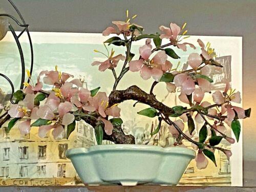 "Vtg Miniature Asian Jade Glass Wire Cherry Blossom Bonsai Tree In Celadon Pot 7"""