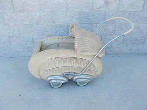 Rare Antique Streamline Wicker Carriage Baby Buggy 1940`s Germany