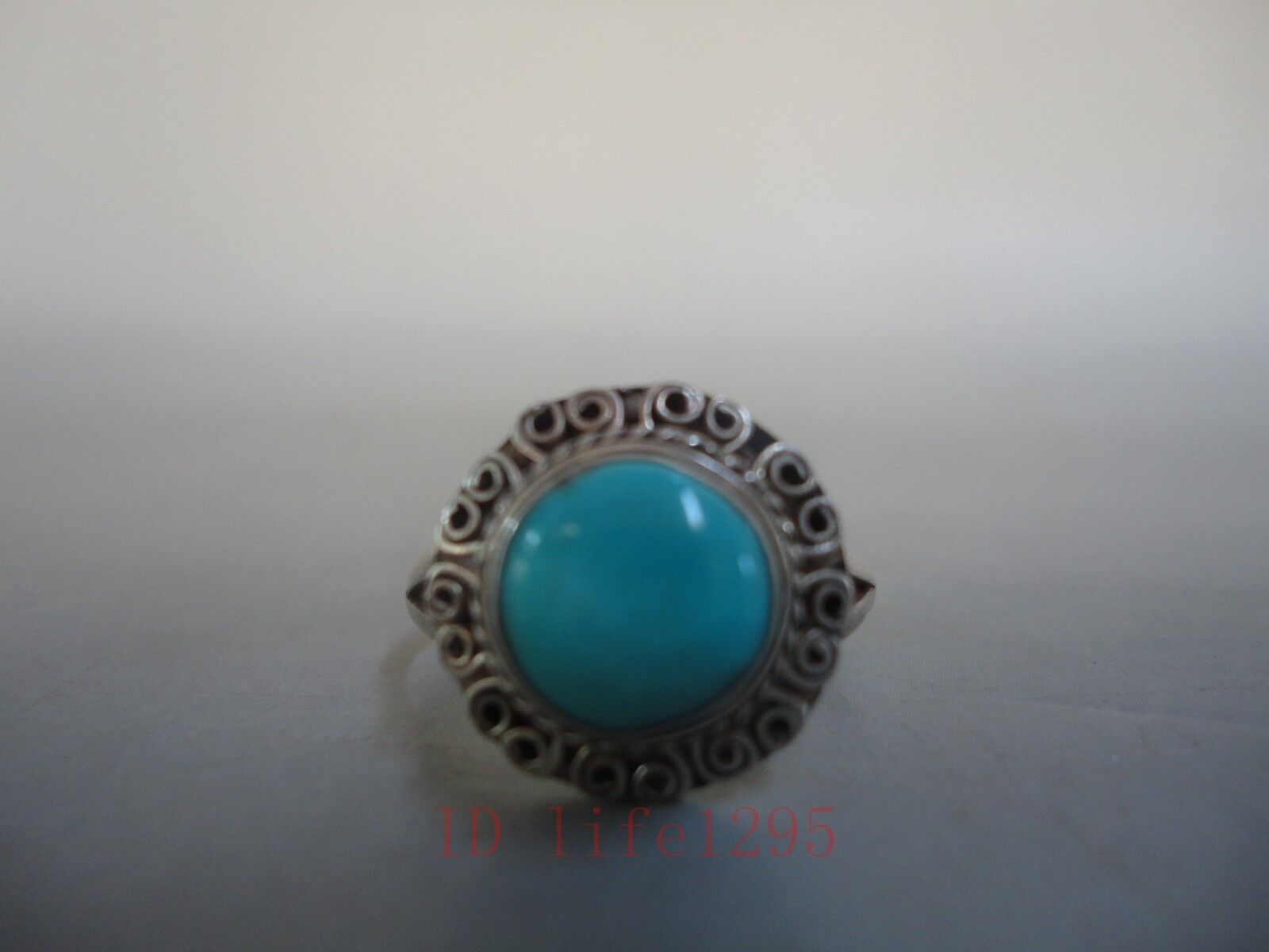 Collection Scarce China Ancient Silver Ring Mosaic Natural Turquoise Decoration