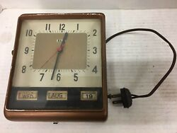 Vintage 1950's Copper Lux Date Minder Calender Clock Wall Mounting & Working