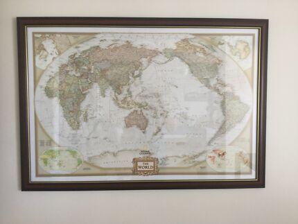 Large vintage laminated world map italian school retro world map framed gumiabroncs Images