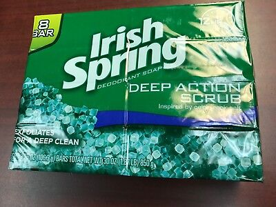 12 Pack Spring - Lot of 12 Individual Pack Irish Spring DEEP ACTION SCRUB Bar Soap 3.75 oz