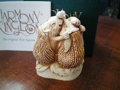 Harmony Kingdom Close Shave Hedgehogs UK Made Marble Resin Box Figurine SG
