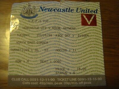 Football : Ticket de l' UEFA CUP 27/09/1994 NEWCASTLE - ANTWERP