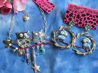 Betsey Johnson Owls on Branch  Multi-Color Blues Enamel  Necklace & -