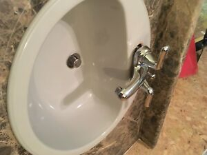 Laminate countertop, sink, and tap