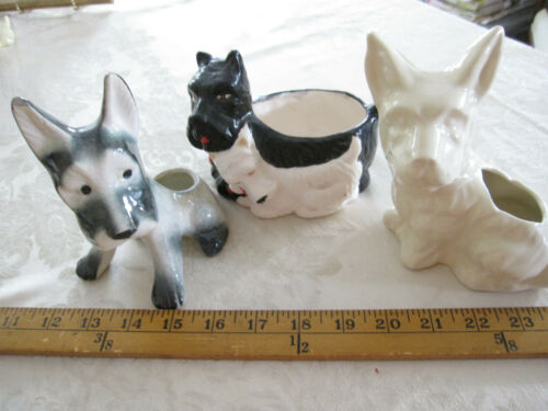 Vintage Set of 3 Scottie Dog Scottish Terrier Ceramic Pottery Planter Figurines