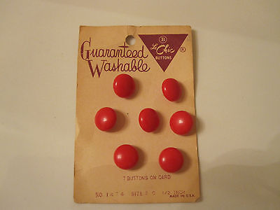 7 LeChic RED Button Card VINTAGE Buttons General Store Couture FASHION Made USA