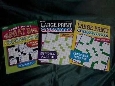 Lot of 3 KAPPA Large Print Crossword Puzzle Books Vols 90 102 103 Large Print