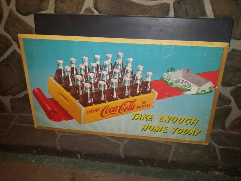 VERY RARE Dated 1952 Coca Cola Cardboard Sign