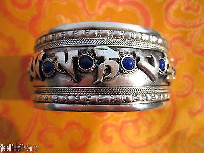 WIDE UNISEX TIBETAN BUDDHIST 9 STONE OM MANTRA CUFF BRACELET TIBETAN CRAFTSMEN