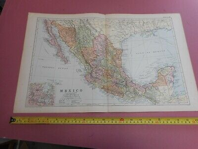 100% ORIGINAL LARGE MEXICO LOWER CALIFORNIA  MAP  BY G  BACON C1912 VGC
