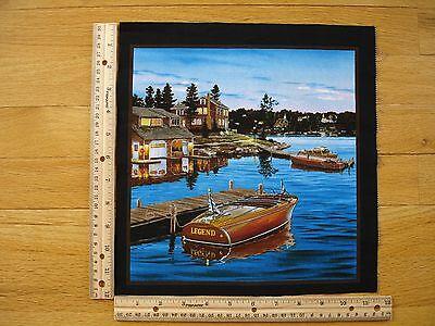 Boat House Dock Lake Calmness Cotton Quilt Fabric Block 10 1/2