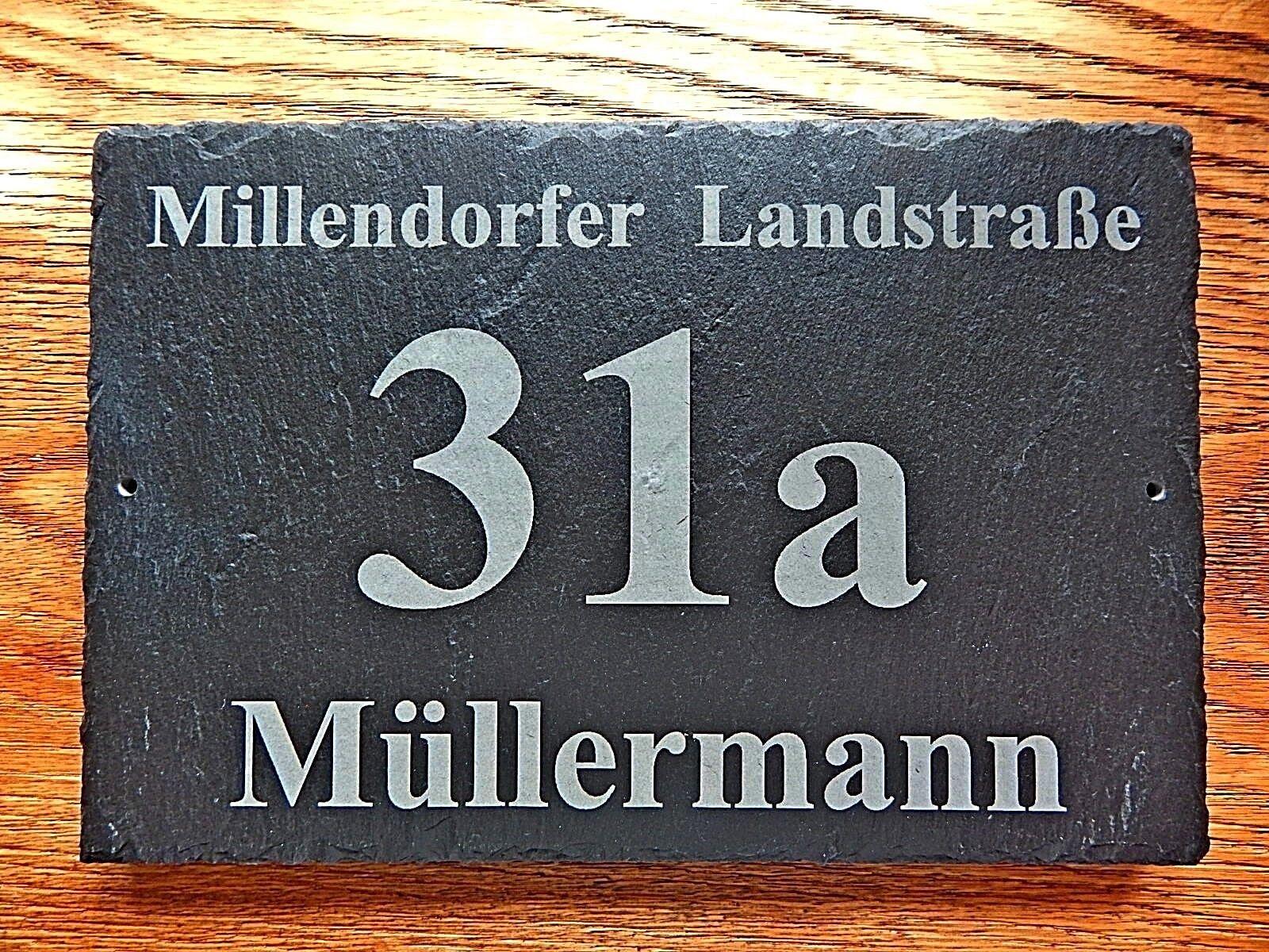 Hausnummer aus Schiefer,  300 x 200 mm, Lasergravur, Schilder