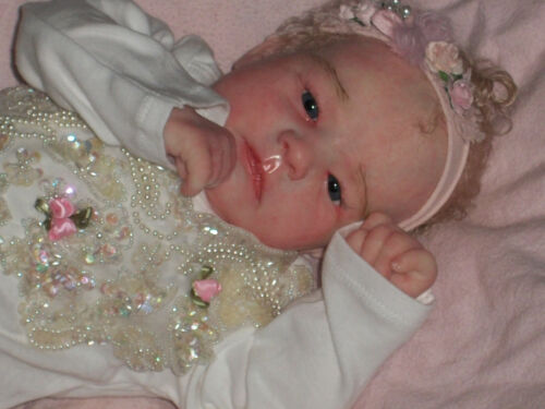 Reborn baby Ruby awake by Bountiful Baby rooted hair and glass eyes!!!