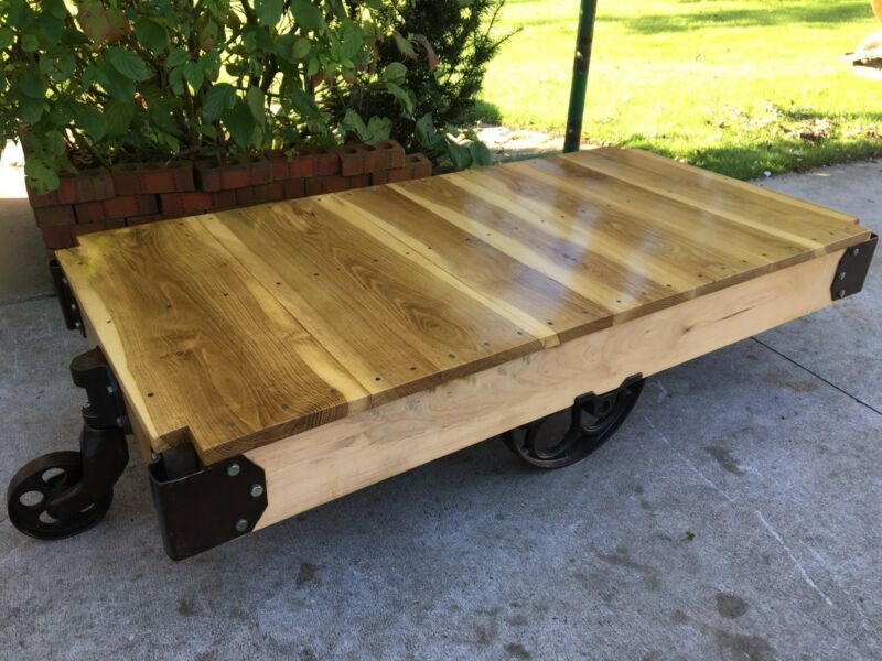 Vintage Factory Cart Antique Coffee Table Rail Cart Refinished Industrial Iron