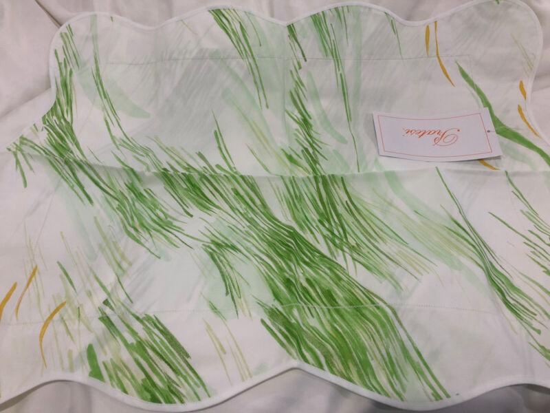 $230 Pratesi Italy NWT (1) Boudoir Sham 100% Cotton Print Percale Scalloped