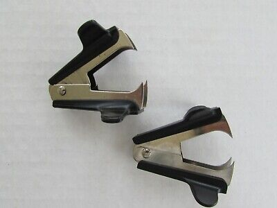 Lot Of 2 Staple Remover Puller Jaw Claw Style Black Office Desk Tool Vintage