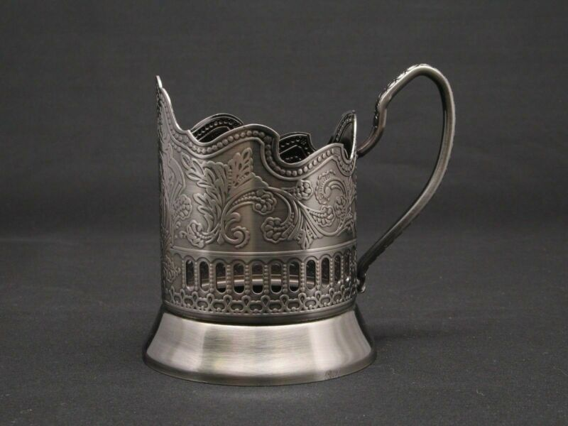 Russian Tea Glass Holder Podstakannik - Soviet / USSR Stainless Steel Drink ware