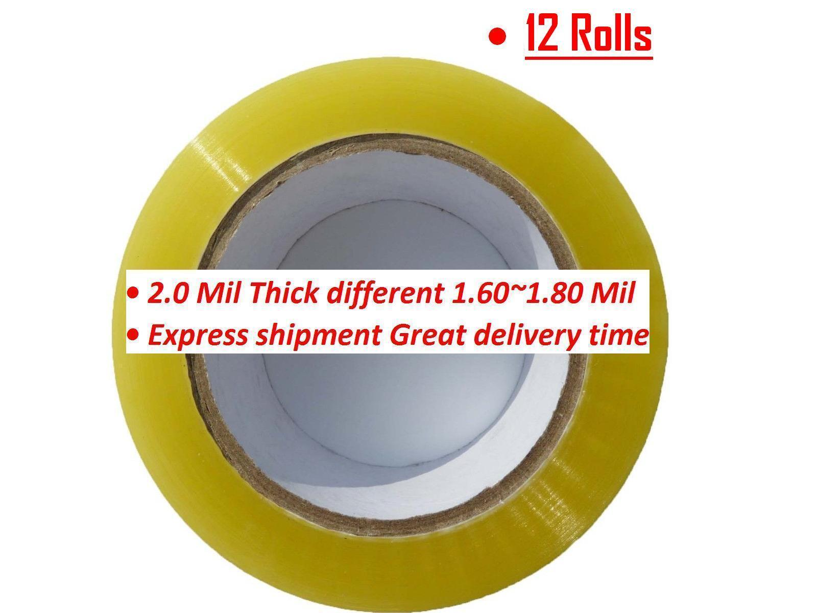 12 Rolls Clear Packing Packaging Carton Sealing Tape 2.0 Mil Thick 2 x 110 Yards