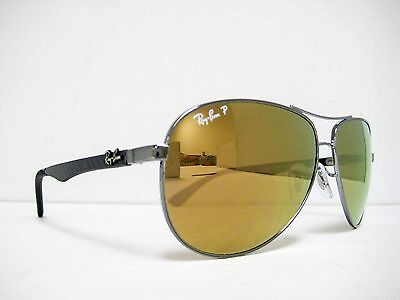 9654797606 new RAY BAN CARBON FIBER Sunglasses RB8313 004 N3 Gunmetal Gold Polarized  61mm