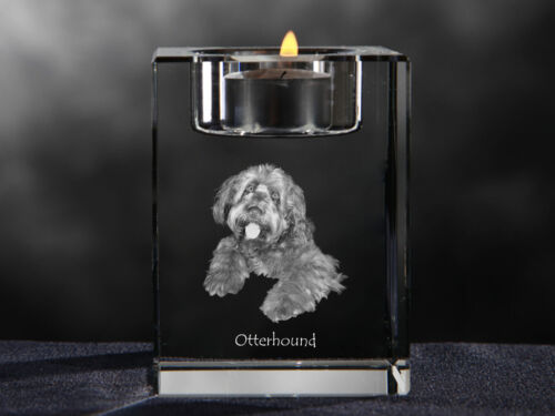 Otterhound, crystal candlestick with dog, souvenir, Crystal Animals USA