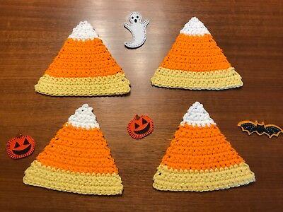 Candy Corn Crocheted Coasters Set Of 4 Newly - Crochet Halloween Coasters