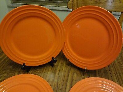 "Lot of 6 Rachael Ray Double Ridge Tangerine  Orange 11 "" Dinner Plate"