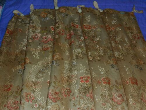 Antique French brocatelle curtain.Flowers.Ulined.C1900.