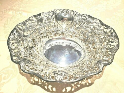 Davco Rose Clusters Repousse Silver-plated BOWL Cutwork Reticulated Scrollwork