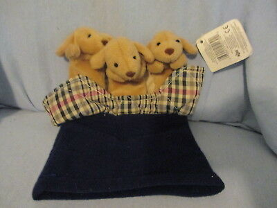 PLUSH PUPPY DOGS IN BASKET HAND PUPPET W/TAG RUSS