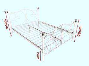 Queen/King Size White Metal Bed Frame with Crystall balls Clayton South Kingston Area Preview